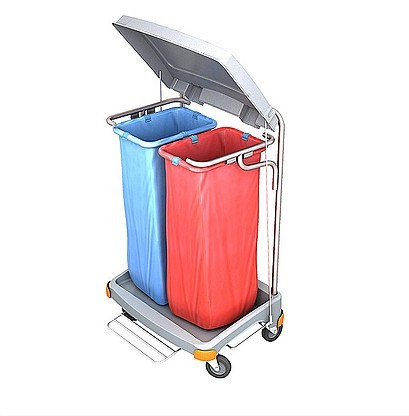 Splast double waste trolley 2x 70l with pedal and lid - side covering optional Splast TSOP-0018,TS-0020