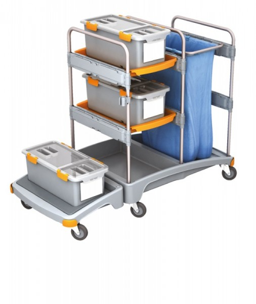 Splast cleaning system with 3 mop boxes, shelf and bag holder - optional covering Splast TSZD-0001,TSZD-0002