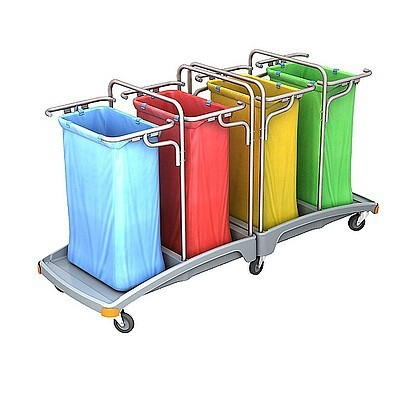 Splast waste trolley 4 x 120 l with a plastic base - blue, red, yellow green Splast TSO-0013