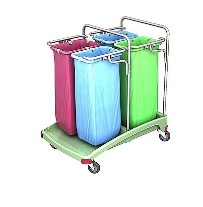 Splast antibakterieller Vierfach-Müllwagen aus Plastik 4x 70l - rot, blau, grün Splast TSOA-0021