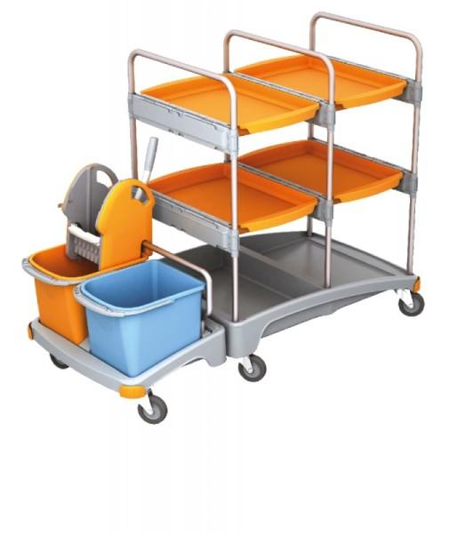 Splast Reinigungswagen aus Kunststoff mit Moppresse, 2 Eimern und 4 Fächern Splast TSZ-0010