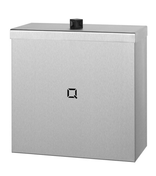 Closed trash can made of stainless steel available in 9L, 30L and 85L from Qbic-Line