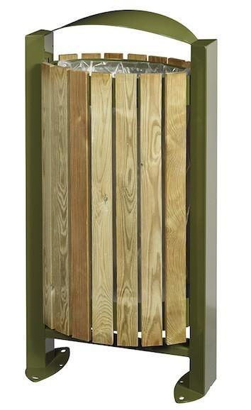 Rossignol Arkea Abfallkorb in Grün aus Stahl 60L mit Holzverkleidung