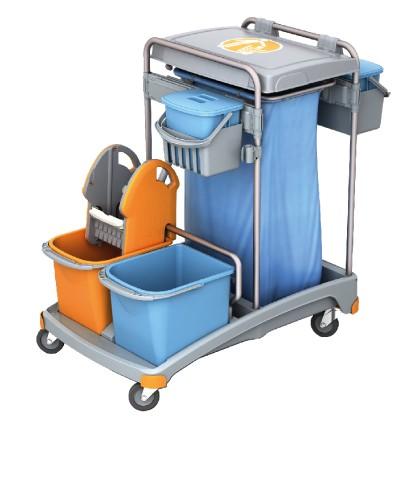 Splast Reinigungswagen mit Abfallsackhalter mit Deckel, Moppresse und 3 Eimern Splast  TSS-0010