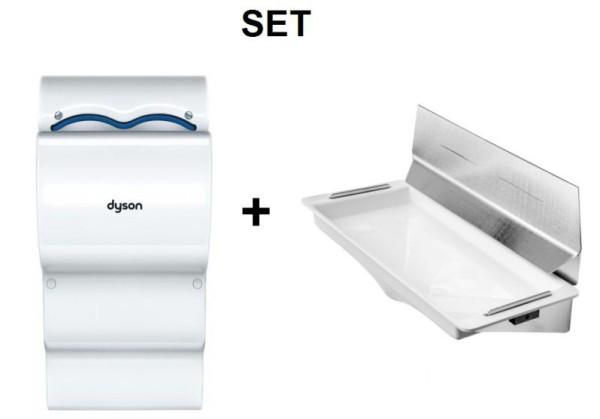 SET Dyson Airblade Händetrockner AB14 + DripTray Tropfschale mit Wandschutzblech Dyson  CSMD14GRIS,CSMD14BLANC