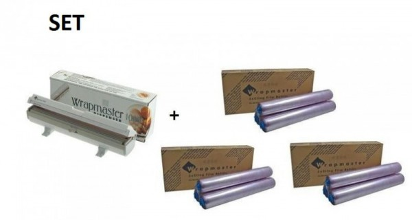 SET Effizienter Wrapmaster Spender WM1000 und + 3 Pack. Frischhaltefolie 1000 Wrapmaster 63M10,3x18C35