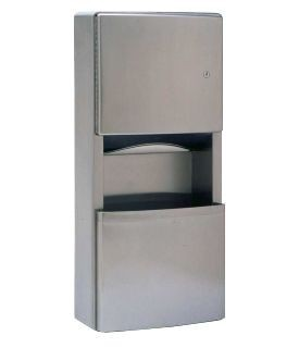 Bobrick surface mounted paper towel dispenser/waste receptacle of stainless steel Bobrick B-43699