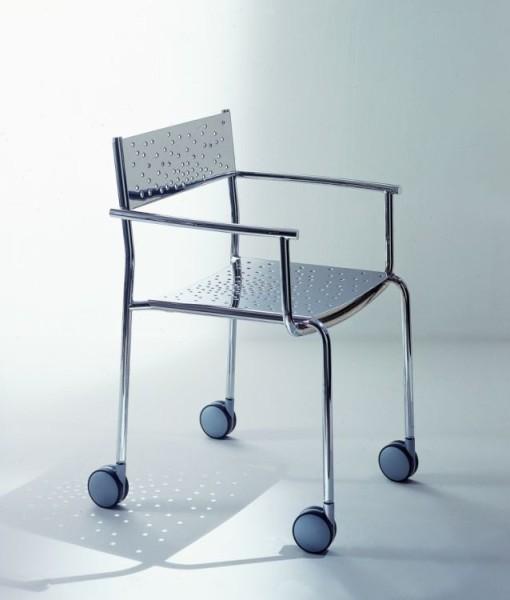 Graepel Tempesta hochwertiger Indoor Armstuhl mit Rädern aus Edelstahl 1.4016 verchromt Graepel Tempesta K00042620