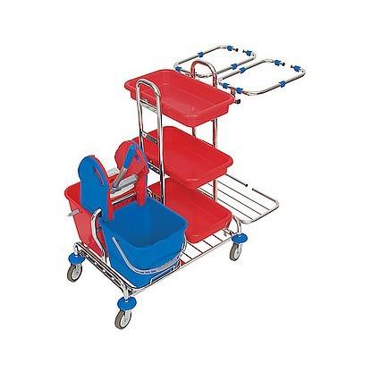 Splast Putzwagen mit Ablagefächern, Moppresse, Eimern und 2x 70l Beutelrahmen Splast ZS-0008