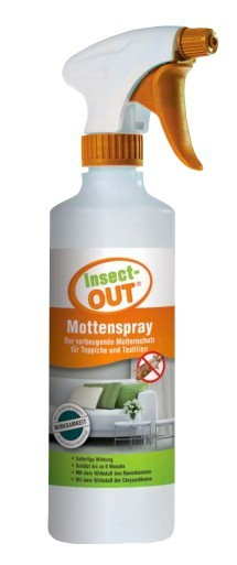 Insect-OUT® Mottenspray 500 ml mit sofortiger Wirkung hält alle Mottenarten fern
