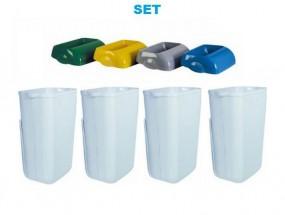 SET Abfalltrennung ''Hidden'' - 4x Marplast MP742 Mülleimer 23L Weiss + 4x Deckel