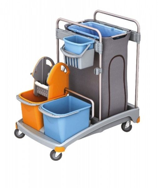 Splast cleaning trolley set with buckets, wringer and a trash bag holder 120 l Splast TSS-0004