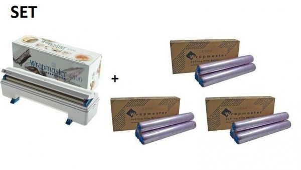 SET Efficient Wrapmaster WM4500 dispenser + 3 carton cling film of polyethylene Wrapmaster 63M91,3x18C15