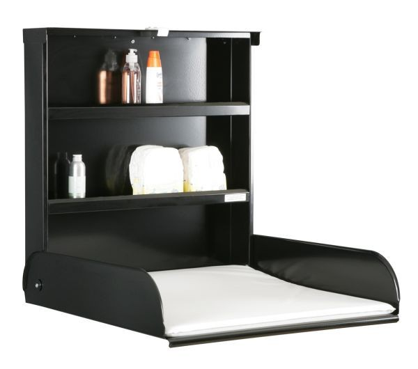 Steel foldable babytable with shelvingsystem + Changing mat - byBo Design Black ByBo Design 10221