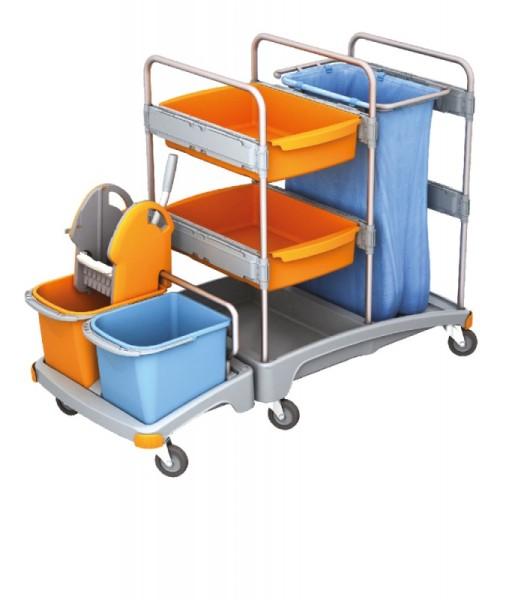Splast mobiles Reinigungssystem aus Kunststoff mit Moppresse, Eimern, Beutelhalter Splast  TSZ-0001