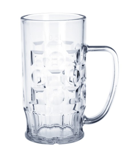 Beer mug 0,3l - 0,5l SAN crystal clear plastic dishwasher safe and food safe Schorm GmbH 9003,9005,9007