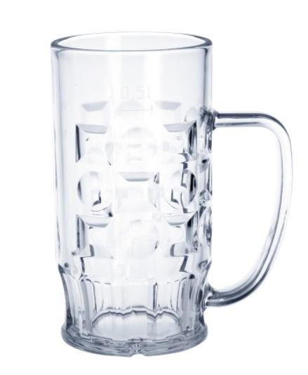 Bier-Krug 0,3l - 0,5l SAN Glasklar Kunststoff Spülmaschinen fest und lebensmittelecht
