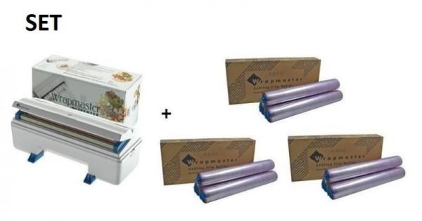 SET Effizienter Wrapmaster Spender WM3000 und + 3 Pack. Frischhaltefolie 3000 Wrapmaster 63M90,3x18C14