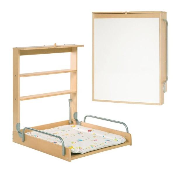 Design Wandwickeltisch aus Holz + Waldhochzeit Matratze - Vertikal