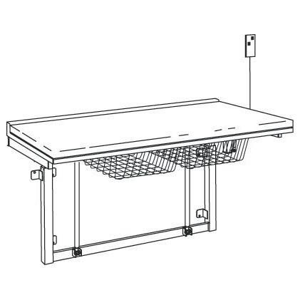 Pressalit weißer Wickeltisch zur Wandmontage 800x1800mm, mit verstellbarer Höhe Pressalit R8713
