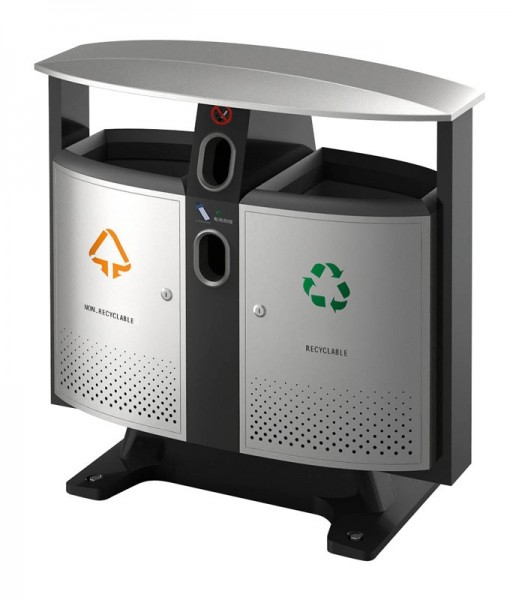 Outdoor recycling bin with battery compartment VB 650408