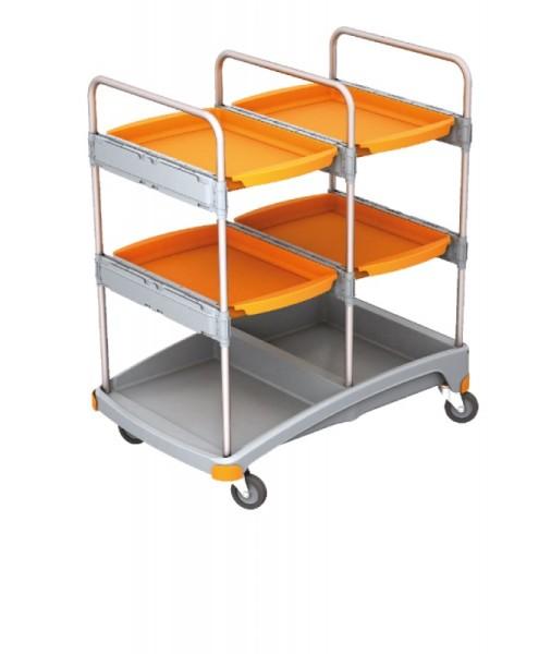 Splast cleaning trolley made of plastic in grey and orange - with four trays Splast TSZ-0016