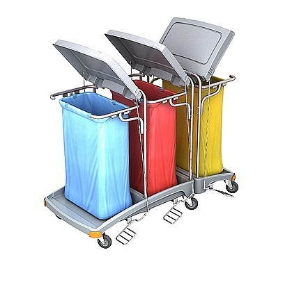 Splast Abfallwagen mit 3x 120l Beutelhaltern und Deckel - Seitenabdeckung optional Splast TSOP-0010,TSOP-0012