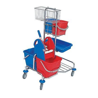 Splast chrome trolley with wringer, basket, tray and 4 plastic buckets - red, blue Splast SER-0006