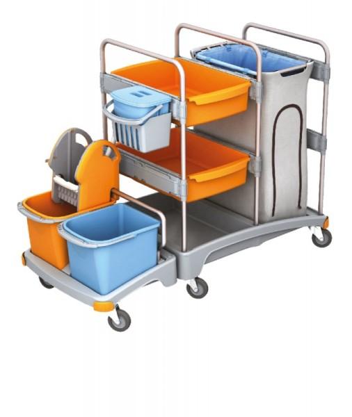 Splast Putzwagensystem aus Plastik mit 3 Eimern, Moppresse, Fächern und Beutelhalter Splast  TSZ-0003