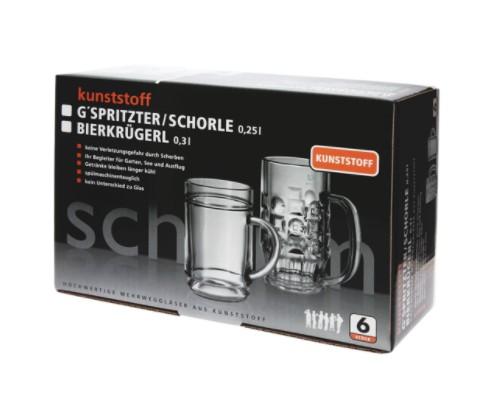 Present-Set: 6Stk. G'spritzter / Schorle Glass 0,25l SAN of Plastic + Box Schorm GmbH 9014+9014-1