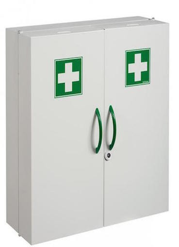 White Clinix medicine cabinet with body made of epoxy powder coated steel