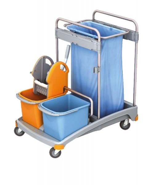 Splast trolley set with mop wringer, waste bag holder, 2 buckets and a plastic base Splast TSS-0001