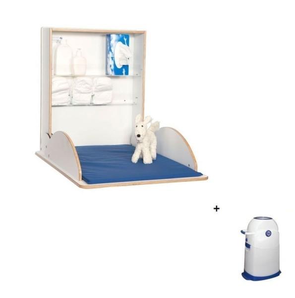 Holzwickeltisch Klappbar Pro Weiß + Windeleimer klein im Set  100111,0400201