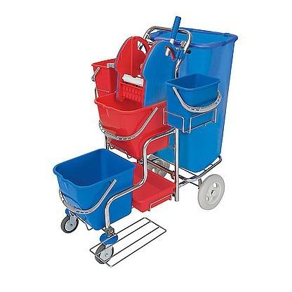 Splast chrome trolley with bag holder 120l, wringer, tray and 4 buckets Splast SER-0007