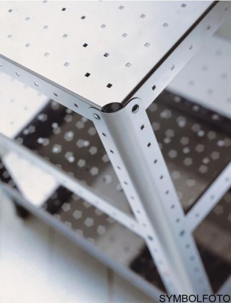 Graepel G-Line Pro Regal Quadra S - TV HI-FI aus Stahl silber lackiert mit Räder G-line Pro K00089323