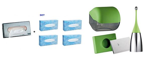 Kosmetiktuchspender Set Hygienebeutel