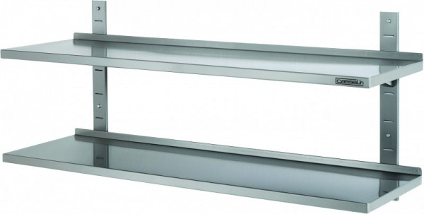 Casselin wall shelf set in stainless steel available in 8 sizes - with 2 shelves Casselin CEMI1,CEMI2,CEMI3,CEMI4,CEMI5,CEMI6,CEMI7,CEMI8
