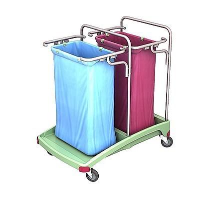 Splast antibakterieller Abfallwagen aus Kunststoff 2x 120l - rot, blau, grün Splast TSOA-0005