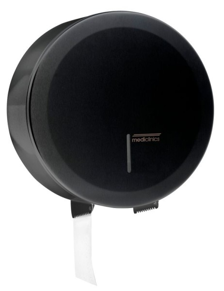 Mediclinics schwarzer Großrollenspender abschließbar MIDI aus Stahl Wandmontage