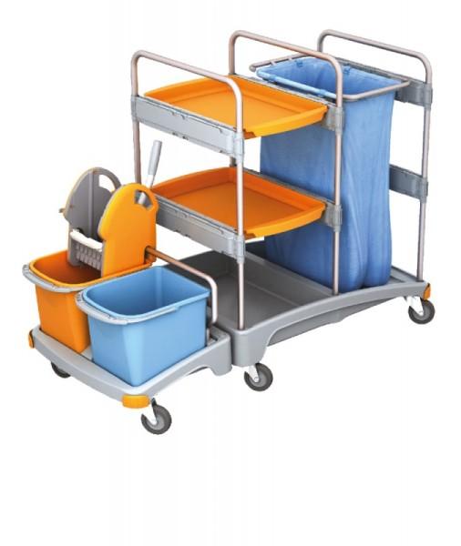 Splast Putzwagen aus Kunststoff mit Abfallsackhalter, Moppresse, Eimern und Regal Splast TSZ-0006