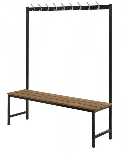 Coat rack with bench made of metal with 9 double hooks VB 200500