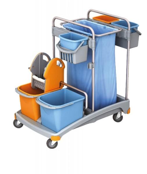 Splast Putztrolley-Set mit 5 Eimern, Plastikbasis, Beutelhalter und Moppresse Splast  TSS-0007
