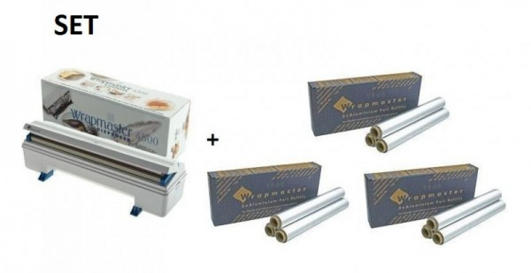 SET Effizienter Wrapmaster-Spender WM4500 und 3 Pack. Aluminiumfolie 4500 Wrapmaster 63M91,3x23C89