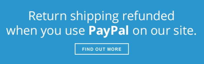 Your return costs refunded wth PayPal, worldwide