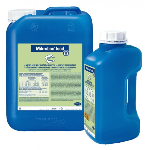 Mikrobac food Aldehydfreier Flächen-Desinfektionsreiniger für Lebensmittelbetriebe Paul Hartmann Ges.m.b.H.  9802184,9802213,9802203