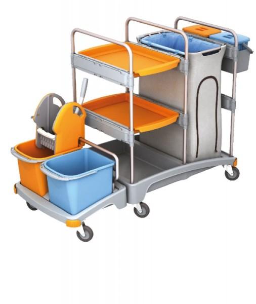Splast Putztrolley aus Plastik - mit 4 Eimern, Moppresse, Beutelhalter und Regal Splast  TSZ-0007
